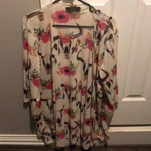 Tops - Cow Skull/Floral Kimono